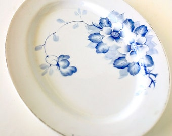 Vintage Japanese Serving Platter KS Japan Blue Flowers