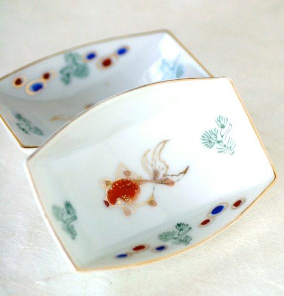 Vintage Goldfish Sauce Dishes, Sushi Sashimi Omochaya Japan Bowl Set of Two