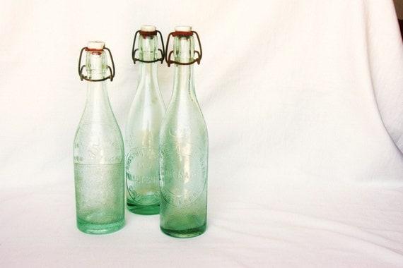 French country kitchen blue green glass bottle, summer picnic, 1 vintage soda bottle, retro kitchen, lemonade, French picnic, water carafe