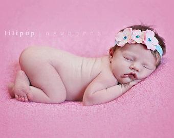 Pink and Blue Flower Headband Baby Headband Pink and Blue Headband Toddler Headband Newborn Headband Infant Headband Pink Flower Headband