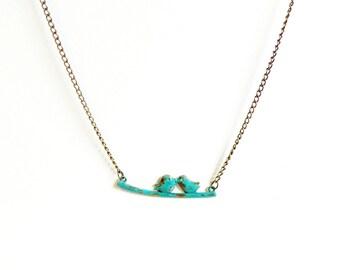 Love birds necklace patina pair birds brass pendant