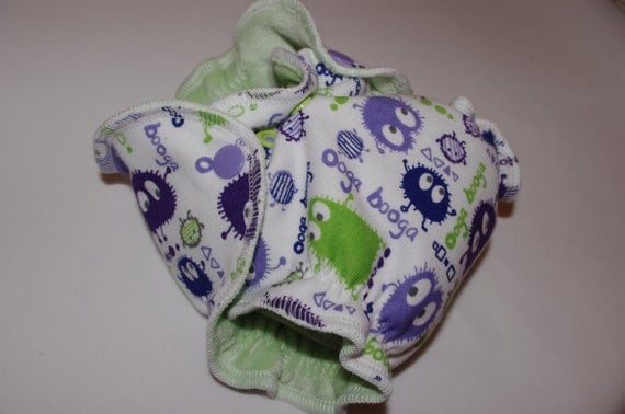 Newborn Organic Bamboo Fitted Diaper 5-12lbs in Purple Lime Ooga Booga cotton knit