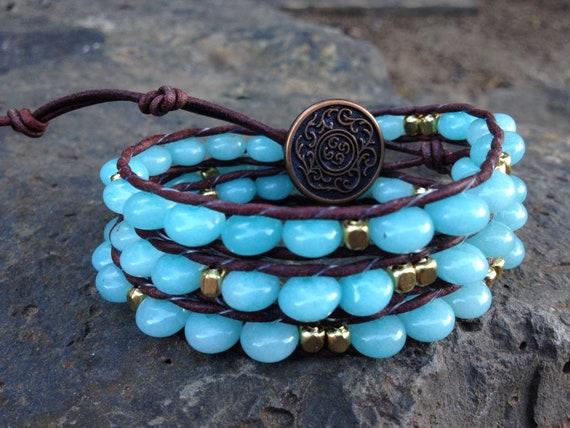 Brazilian Amazonite and Gold Nugget Beaded Brown Leather Gemstone Triple Wrap Bracelet
