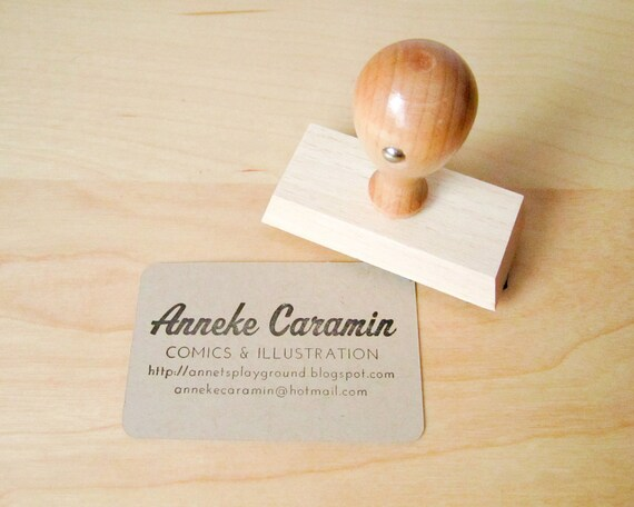 "Business Card Stamp - Custom 2 3/4"" Business Card or Etsy Shop Stamp for business cards and shop packaging - L0022"