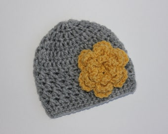 Baby Girl Hat, Toddler Girl Hat, Crochet Flower Hat, Gray and Gold