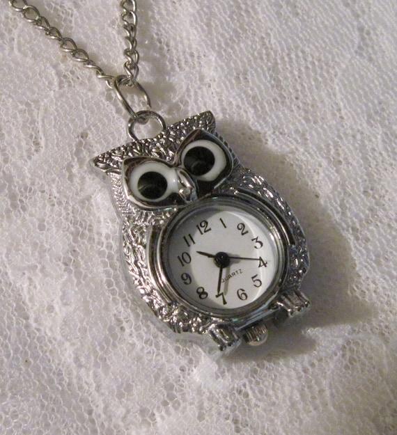 Silver Steampunk Owl Necklace Watch - Jewelry by ThatsSoCoolStudio