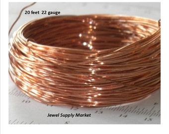 SALE-20 feet-22 gauge soft, genuine solid copper wire, jewelry making, easy to twist wire