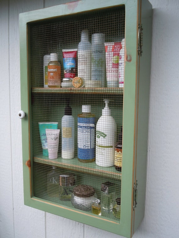 "EXPEDITED - Rustic Bathroom/Kitchen/Bedroom/Nursery Cabinet- 4.5"" shelf - 3 Shelf with Wire Door -New Leaf Green - MADE to ORDER"