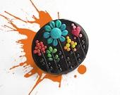 "Fun Art Jewelry / OOAK, handmade polymer clay ring, rainbow nature / ""Magical Garden"" /"