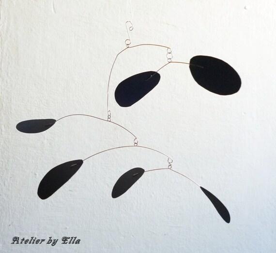 Hanging Art Mobile 6 black pieces