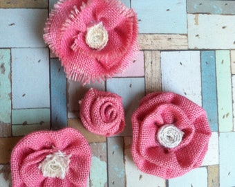 Pretty and Pink Burlap Flowers