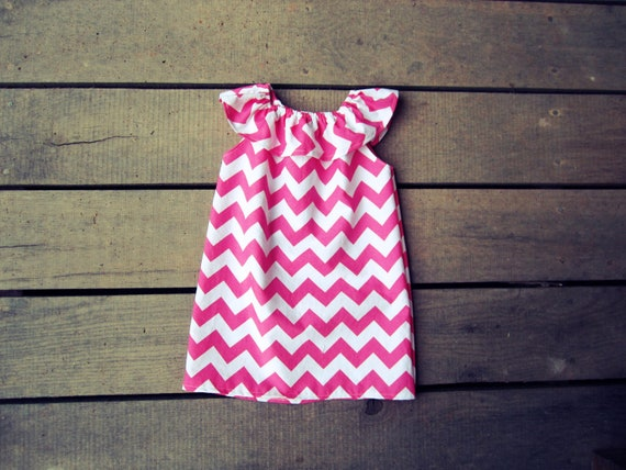 Girls Chevron Ruffle pink or aqua blue beach Dress size 6 months 12 months 18 months 2t 3t 4t 5t