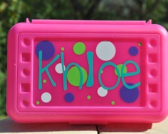 Personalized Polka Dot Pencil Box Art Box Crayon Box School Box -- Free Shipping in USA