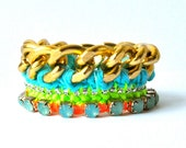 Friendship bracelet, neon multicolor mint blue orange turquoise, gold plated chain, knitted thread work, chrystal rhinestones