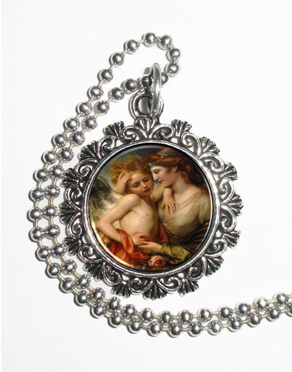 Venus Consoling Cupid Stung by a Bee Art Pendant, Vintage Resin Pendant,  Benjamin West Art, Photo Pendant Charm