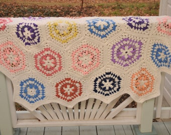 Vintage Hexagon Crocheted Afghan Throw Rainbow