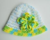 Toddler  Girl  White Cotton Hat With  Blue Green Yellow  Flower And Edge 5 Years To Preteen Spring Cap  Summer Beanie
