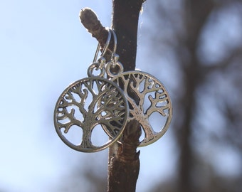 TREE OF LIFE Tibetan Style Silver Earrings with Sterling Silver Ear Hooks