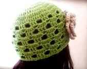 Crochet hat pattern, crochet girl hat, crochet beanie pattern, instant download PDF, green apple beanie - newborn to adult, Pattern No. 4