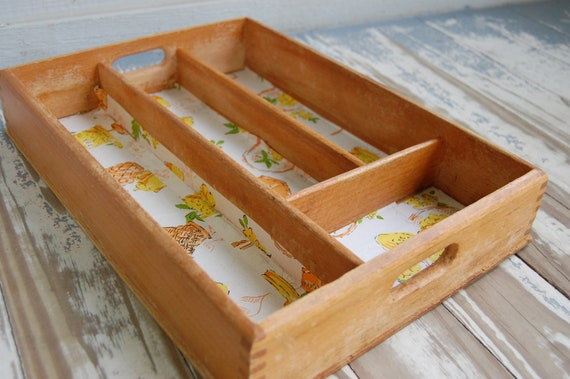 Vintage 50's Kitchen Dovetailed Wooden Box Divided Tray - Cutlery - Crafting Storage