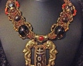 OOAK Stunning Brass Dragon and Dzi Nepalese woven Necklace