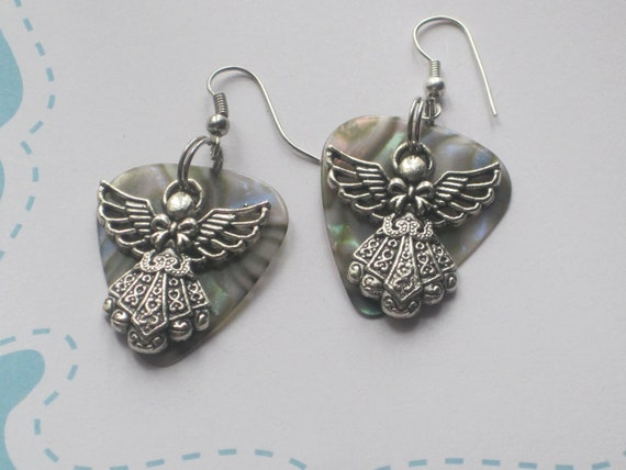 Guitar Pick Earrings - Angel Charm - Upcycled Recycled