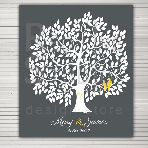 DIY printable wedding alternative guest book. Large tree 250 leaves. Love birds and baby in nest on request.