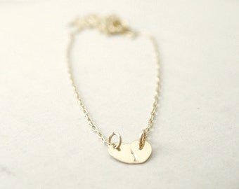 Tiny heart initial necklace - personalized gold filled - hand stamped, custom initial