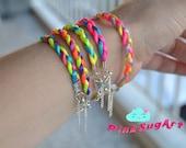 Neon Braided Satin Cord Summer Bracelets - Handmade by PinkSugArt