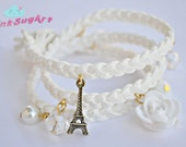 Triple Wrap Suede Braided White Charm Bracelet - Handmade by PinkSugArt Women Accessories
