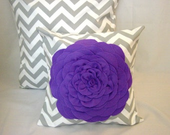 Decorative Pillows, Pillow Covers, Throw Pillows,Set of 2-One 16 x 16-One Gray Chevron Print /One 14 x 14 Purple Flower Cover,Accent Pillows