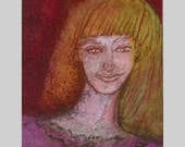 Fashion Illustration, TEXTURED ACEO PAINTING, woman art, orange red yellow pink, blond girl,  Miniature Art by Teofana