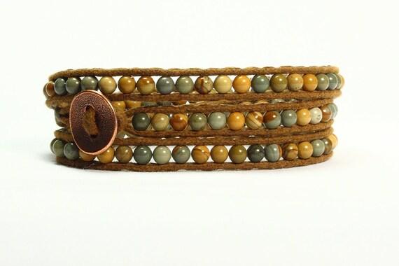 Wrap bracelet.  Wild Horse jasper gemstones.  Mustard yellow, sage, aqua.  Brown cord, copper color button.  Fall colors.  Hippie.