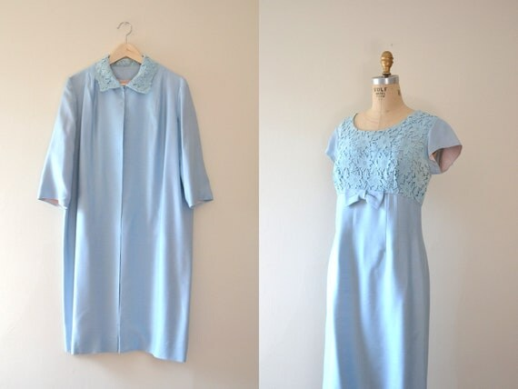 60s dress / 1960s vintage dresses / blue dress