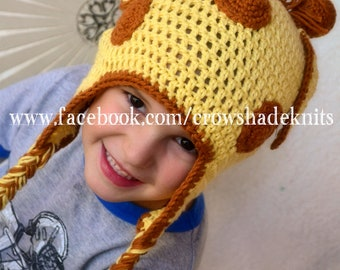 Crochet Giraffe Hat, sized Newborn, Child, and Adult