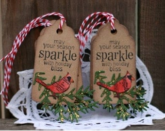 Christmas Gift Tags - Set of 6 Holiday gift tags with twine - Cardinal