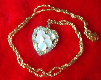 SUPER Sparkly Vintage Avon Aurora Borealis Rhinestone and Shell Heart Necklace