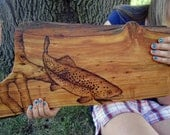 Rustic Decor Trout - Log Cabin Trout Fishing Wood Art