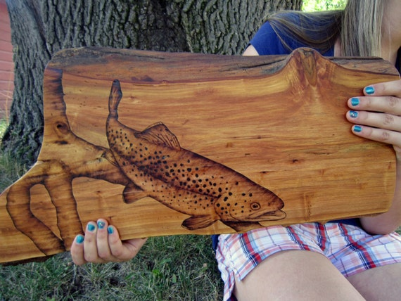 items similar to rustic decor trout