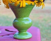 Haeger Vintage Lime Green Speckled Planter Urn or Vase With Matte Finish