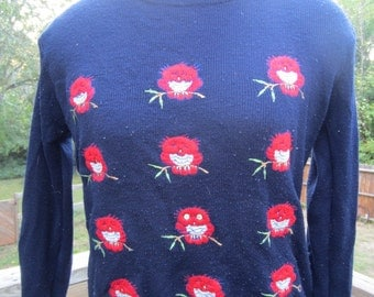 Vintage Navy Blue Sweater with Embroidered Sleepy Red Owls S M