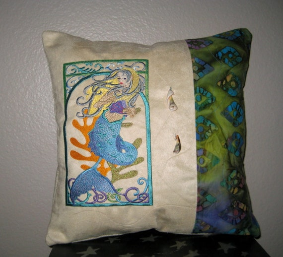 Suede Mermaid Pillow Cover 14 x 14