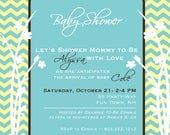 Feet Chevron Flowers Baby Shower Invitation Boy Girl -Teal Turquiose Green Brown -  Baby Shower Girl Boy Invite -  Invitation Flowers