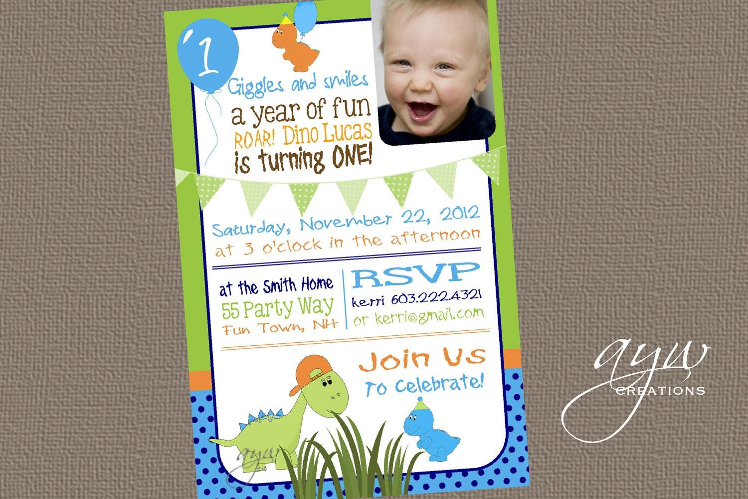 Dinosaur Birthday Invitation First Birthday Dinosaur Party