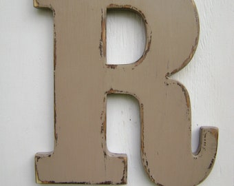 personalized initals big lettershanging decor rusticwall hanging letter capital nursery letters12 tallpainted khaki tan