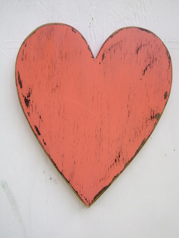Shabby chic rustic wooden heart painted Coral Blush and distressed, wedding photo prop, wood heart, engagement photo prop, kids room decor