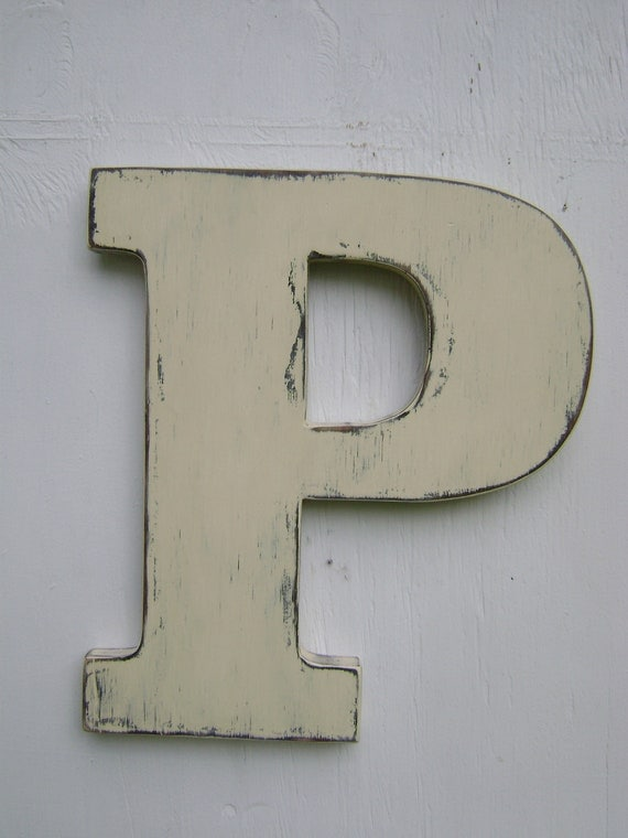 "Custom personalized sign,wood letters gifts rustic Letter P,Nursery Letters,12"" tall wooden letter,painted Antique White"