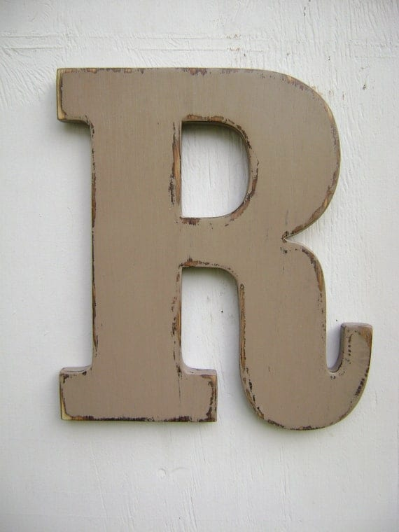 """Personalized, initals, big letters,hanging decor, rustic,wall hanging letter, Capital Nursery Letters,12"""" tall,painted Khaki tan"""