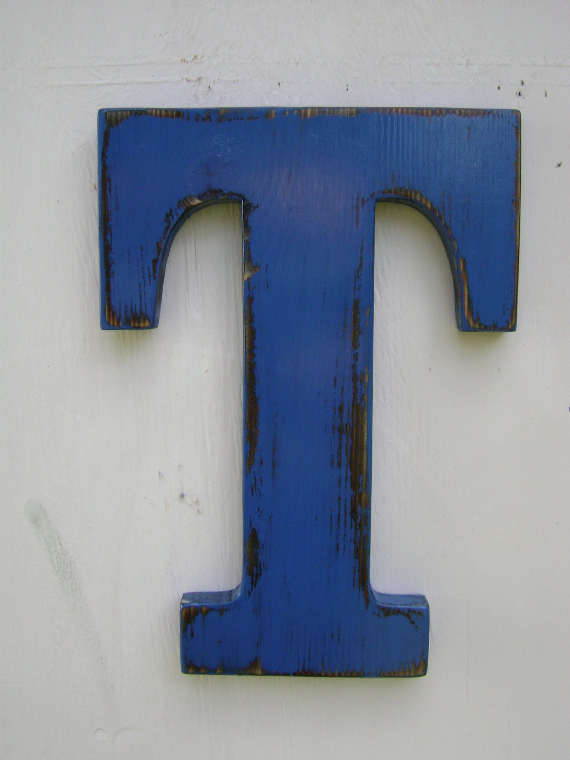 wooden letter T sign shabby chic rustic wall hanging decor