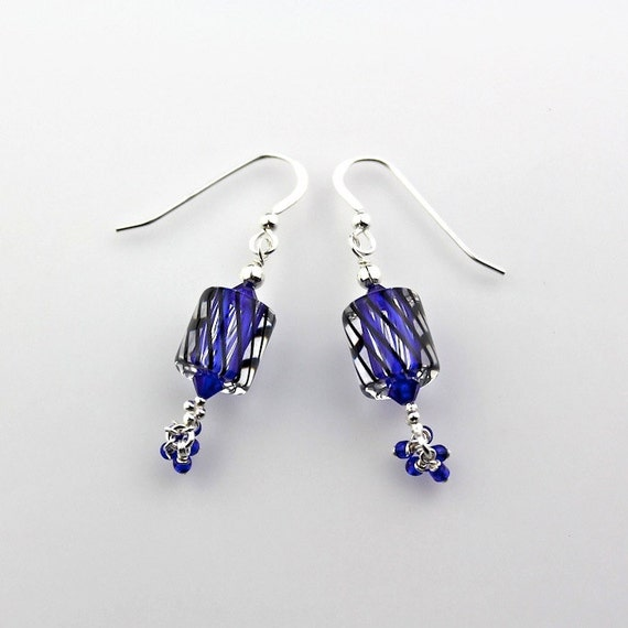 Cobalt Blue and Black Swirled Cane Glass and Sterling Silver Dangle Earrings